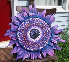 """Purple Gerber Daisy  made entirely from Old Wood Crab Baskets Painted with Rustoleum, can be displayed outside.  25"""" across  by Dawn Tarr DAWN TARR ART"""