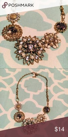 """J. Crew Gem Statement Necklace Navy Blue & Gold J. Crew Necklace Features flower shaped jeweled medallions with navy blue and gold embellishments and some pearl.   Approximate drop (fully extended): 9"""" Adjustable chain for tightening: 3.5"""" J. Crew Jewelry Necklaces"""