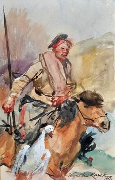 """Cossack on Horseback"", 1918, watercolour on paper, 24 x 14.5 cm, private collection"