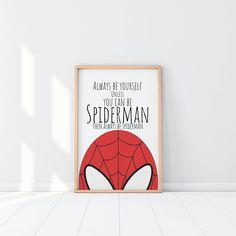 Spiderman Print, Superhero Name Print, Superhero Print, Boys Room Decor, Marv. Avengers Room, Marvel Room, Marvel Art, Spiderman Wall Art, Spiderman Theme, Man Room, Girl Room, Superhero Names, Boys Room Decor