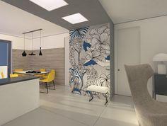 Un soggiorno-cucina reso più funzionale dal nuovo vano dispensa, ricavato e valorizzato con carta da parati decor. Per la lettrice Arianna, che ha richiesto un progetto al nostro esperto.