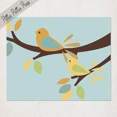 Bird Nursery Art Orange and Yellow Baby Birds by pitterpatterpress, $20.00