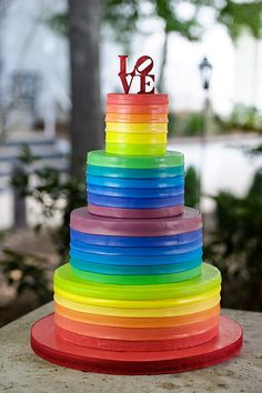 Rainbow Wedding Cake- Brian Mullins Photography *This cake is NOT by deVOWer Cakery Atlanta but we would love the chance to do so* Pretty Cakes, Beautiful Cakes, Amazing Cakes, Cupcakes, Cupcake Cakes, Gay Wedding Cakes, Lesbian Wedding, Cupcake Photography, Rainbow Food