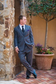 Beauty & Lifestyle Bride Groom and grey suit Read all here http://blbride.com/a-bella-collina-eleganant-meets-southern-wedding-darian-stephan/