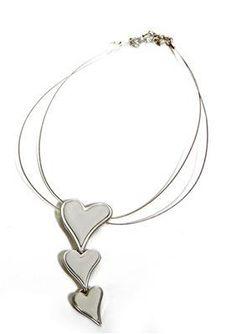 Hjerter Three Brushed Silver Heart Short Necklace  www.karmeleons.com.au