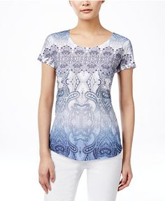Style & Co. Printed Studded T-Shirt, Only at Macy's - Tops - Women - Macy's