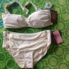 Bathing suit👙 Off white soft bathing suit fabric with gold button studs. High top bottoms, vintage style Juicy Couture Swim
