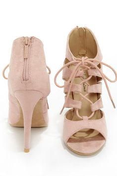 Michael Antonio Jacqueline Blush Lace-Up Peep Toe Heels