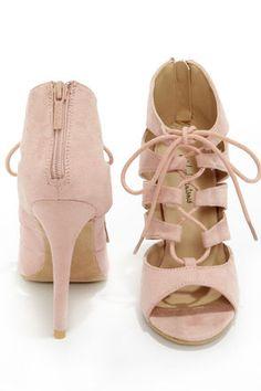 Michael Antonio Jacqueline Blush Lace-Up Peep Toe Heels