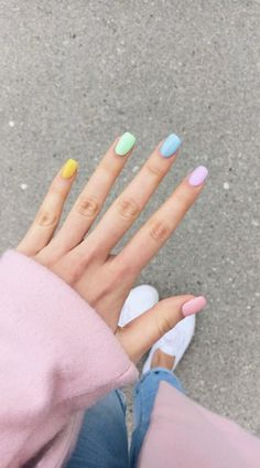 27 Very Pretty Colorful Nails For The Sunny Days You Must Try . 27 Very Pretty Colorful for The Sunny Days You Must Try nails for you - Nails Best Acrylic Nails, Summer Acrylic Nails, Spring Nails, Summer Nails, Spring Nail Colors, Cute Nails, Pretty Nails, My Nails, Nagellack Trends