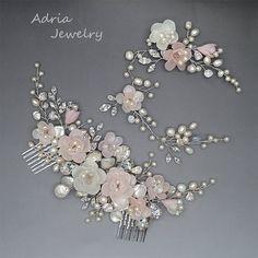 Pink Bridal Headpiece Blush Pink Wedding Hair by adriajewelry