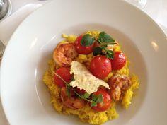 Saffron rissoto with parmesan,cherry tomatoes and grand tiger shrimp