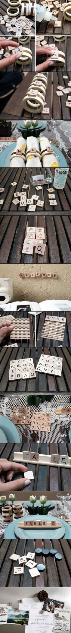 DIY Crafts Of Scrabble.Use sticky Braille to Braille the letters. Scrabble Tile Crafts, Scrabble Art, Craft Projects, Projects To Try, Love Garden, Love Craft, Deco Table, Diy Interior, Diy Home Crafts