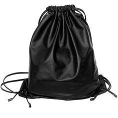 XENAB LONE - Black Lambskin Mini Drawstring Backpack ($315) ❤ liked on Polyvore featuring bags, backpacks, black, accessories, black drawstring backpack, black backpack, mini bag, backpacks bags and black bag