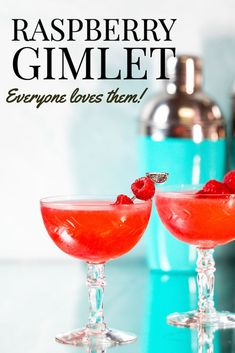 Raspberry Gimlet - everyone loves this easy 3 ingredient gin cocktail!  Just look at that gorgeous color and it tastes as good as it looks!  Gin, raspberry syrup and lime juice are all you need for this easy going summer cocktail!  With that gorgeous color, it's also perfect for Valentine's Day! Classic Gin Cocktails, Easy Summer Cocktails, Gin Cocktail Recipes, Fruity Cocktails, Raspberry Syrup, Lime Juice, 3 Ingredients, Summer Recipes, Alcohol