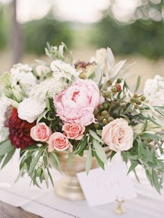 Al fresco rose + peony floral centerpiece: http://www.stylemepretty.com/little-black-book-blog/2016/05/03/inspired-by-tuscany-this-couple-recreated-that-magic-for-their-big-day/ | Photography: Coco Tran - http://www.cocotran.com/