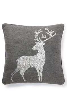 Grey Sequin Stag Cushion