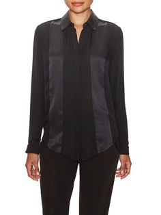 Silk Satin Trim Button Up Blouse by Ohne Titel at Gilt