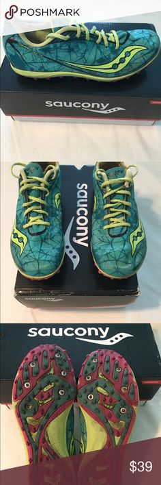 Saucony Shay xc 4 spikes Saucony Shay XC 4 spikes in good condition and only worn during races. Used but plenty of life left. Ultra light and have places for 6 replaceable spikes on the sole. Can also be used for Track. Saucony Shoes