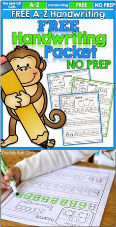 Just print, place in sleeve protectors and use with a dry erase marker to save paper and offer LOTS of practice! is part of Kindergarten writing - Preschool Activities, Kids Learning, Handwriting Sheets, Handwriting Practice Free, Free Handwriting Worksheets, Handwriting Activities, Letter Worksheets, Kindergarten Literacy, Kindergarten Handwriting