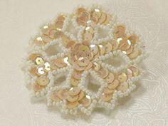 Vintage Jewelery Pin Brooch Snowflake Applique Snow Handmade Jewellery Christmas