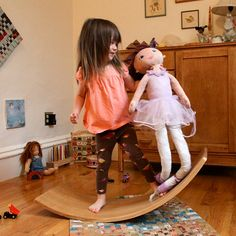 Waldorf Inspired Balance Board Solid Wood by elephantplaythings - great for helping toddlers expel excess energy indoors