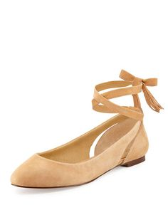 Jerrie Ankle-Wrap Ballerina Flat