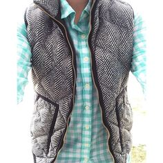 Aqua gingham blouse with black & white puffy vest.