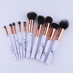 10pcs Marble Style Makeup Brushes