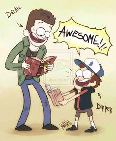 Ainda tô esperando este momento acontecer. Eu fico imaginando o quanto seria legal Dipper er o diário de John Winchester e Dean ler o diário de Gravity Falls(pensa só quando ele souber que tem mais dois).