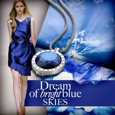 #Blue #Sky #Sparkle #Clouds #Dress #Necklace #Silver #SterlingSilver #Interchangeable #Coin #Jewellery #Jewelry #Emozioni #HotDiamonds #Style #Fashion