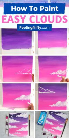 Simple Canvas Paintings, Easy Canvas Art, Small Canvas Art, Easy Canvas Painting, Mini Canvas Art, Acrylic Canvas, Easy Acrylic Paintings, Painting Clouds, How To Paint Canvas
