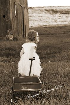 Black & White, children, outdoor, photography, pulling cart.   #littlle girl #white_dress #outdoor_photography www.countryphotosbylori.com