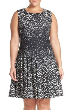Eliza J 'Degrade' Gradient Print Fit & Flare Dress (Plus Size) available at #Nordstrom/good looking dress NASTY NAME