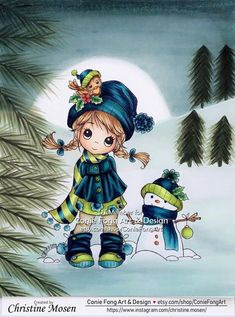 """I have colored Conie Fongs """"Molly's Winter Friends"""". This cute image is on sale through Family Day Quotes, Cute Images, Copic, Namaste, Friends, Winter, Christmas, Cards, Pasta"""