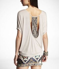 love express! EMBELLISHED OPEN-BACK WEDGE TEE at Express