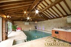 Swimming pool house. Bespoke oak framed ceiling with exposed oak beams and rafters for a stylish look.