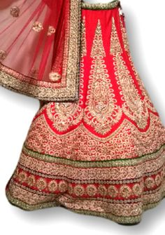 kalashree, red, budget bridal lehenga, red lehenga with threadwork, red white and green lehenga, bridal lehenga, georgette,Kala Shree