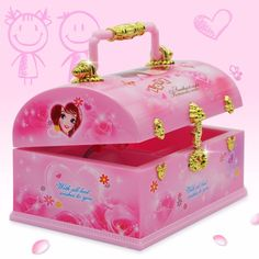 Moda Rosa Linda Bailarina Boneca caixa de Música Caixa de Jóias Organizador Make Up Box Portátil Musical para Crianças Meninas Presente Das Crianças