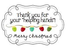 Parent Volunteer Christmas Gifts {attach a pair of winter gloves to this tag}