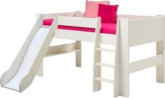This mid sleeper bed frame from Wizard is made from sturdy, durable pine. Ideal for a growing family, it can be adapted via conversion kits into either a bed, high sleeper, or bunk bed.