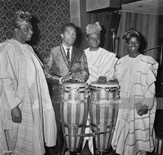 L-R; Chief Kos Are, Jamaican singer-songwriter and producer Prince Buster (Cecil Bustamente Campbell), Lateef O Are, A. Mohammed Mubashiru Ali, 26th April 1967.