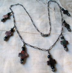 vintage sterling silver and jasper cross charm necklace. $45.00, via Etsy.