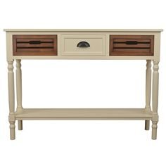 Ivory Melody Chestnut Drawer Console Table ($280) ❤ liked on Polyvore featuring home, furniture, tables, accent tables, antique white console table, ivory console table, cream console table, dark brown console table and shelf console table
