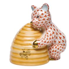 "Herend Hand Painted Porcelain Figurine ""Honey Bear"" Rust Fishnet Gold Accents."