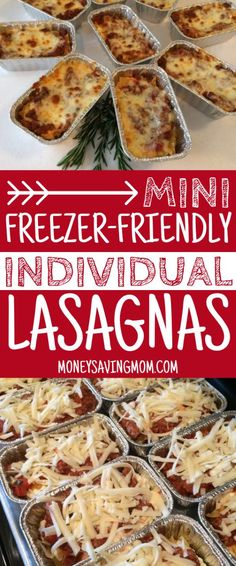 Easy Individual Mini Lasagnas {Freezer-Friendly Looking for an easy freezer lasagna recipe? These mini lasagnas are SO delicious, and you can easily whip up a huge batch ahead of time! Freezer Lasagna, Budget Freezer Meals, Freezer Friendly Meals, Freezer Cooking, Frugal Meals, Easy Meals, Cooking Recipes, Freezer Meal Recipes, Make Ahead Lasagna