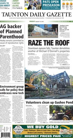 The front page of the Taunton Daily Gazette for Friday, Aug. 14, 2015.