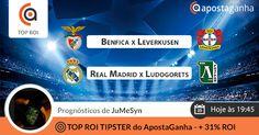 Com o Sport Lisboa e Benfica e o Real Madrid C.F. a jogarem em casa, o nosso #1 TOP ROI TIPSTER, JuMeSyn, com +31%ROI, mostra-nos as suas apostas para uma grande noite europeia!  http://www.apostaganha.pt/2014/12/08/benfica-vs-bayer-leverkusen-liga-dos-campeoes-2/  http://www.apostaganha.pt/2014/12/08/real-madrid-vs-ludogorets-liga-dos-campeoes/  #apostasonline #apostasdesportivas #championsleague #desporto #benfica #realmadrid #bayernleverkusen