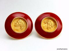 Vintage Monet Clip On Earrings, Gold Plate Medallion Greek Roman Coin Earrings, Red Enamel Earrings, Red Gold Circle Round Button Earrings from JamieRayCreations on Etsy https://www.etsy.com/listing/219381050/vintage-monet-clip-on-earrings-gold