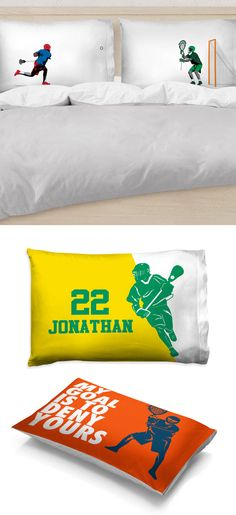 Add a bit of lacrosse to your home decor with these lacrosse pillowcases! Your laxer will love the dozens of designs and color options  that will add a personal touch to his room!